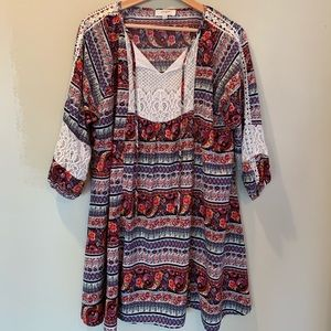 Umgee tunic dress with lace accents